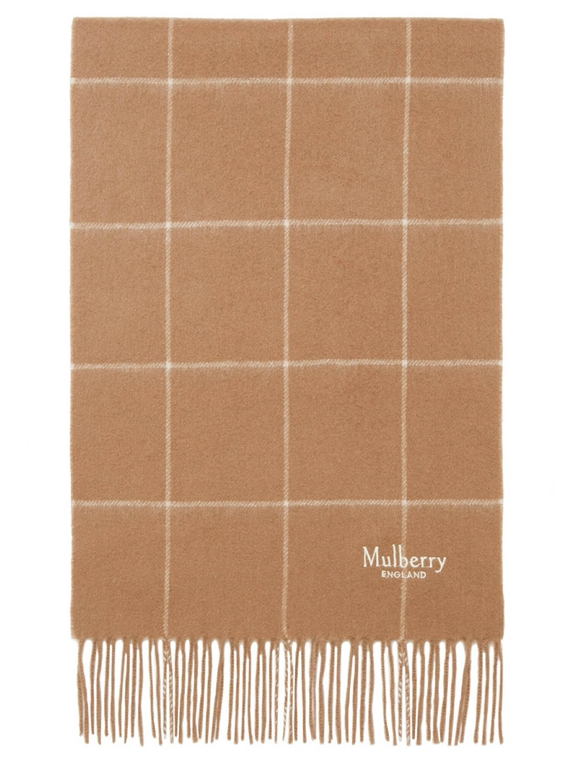 Image of   Mulberry Tørklæde - Small Windowpane Check Camel